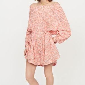 Maje Boho Short Cotton Floral Print Veil Dress S